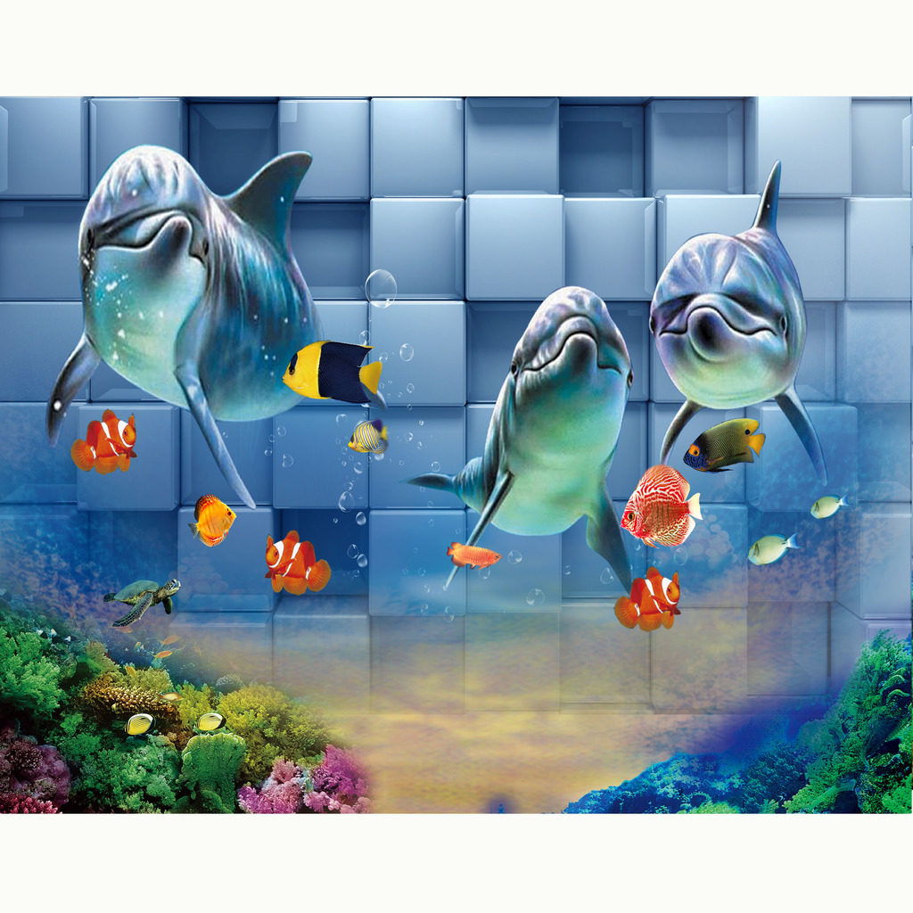 3d立体海底世界海豚背景装饰画