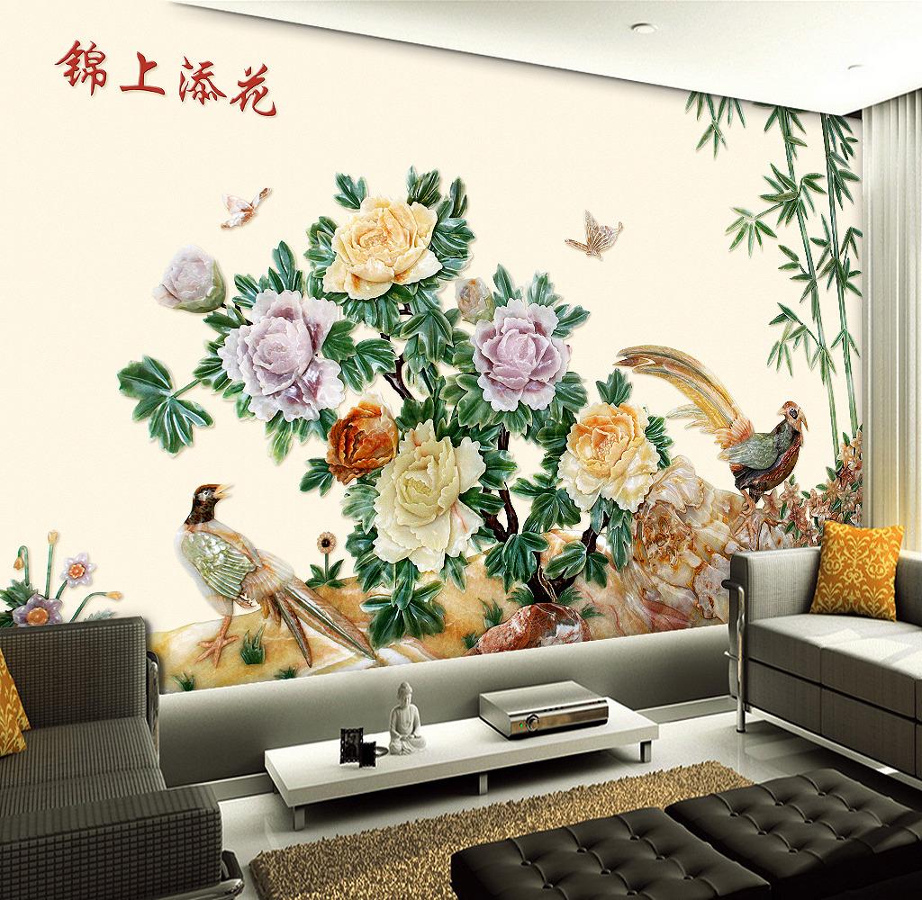 石雕电视墙欧式花