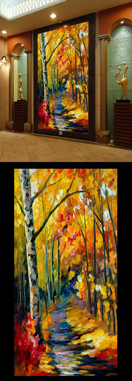 高清手绘风景画水彩枫树林玄关门厅过道背景