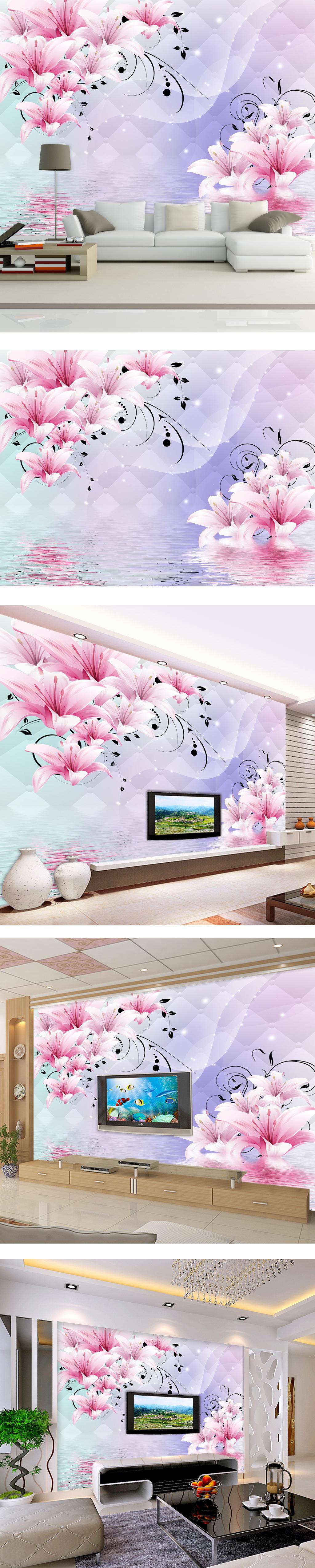 壁纸 背景墙 软包/[版权图片]3D立体软包百合花电视背景墙壁纸壁画