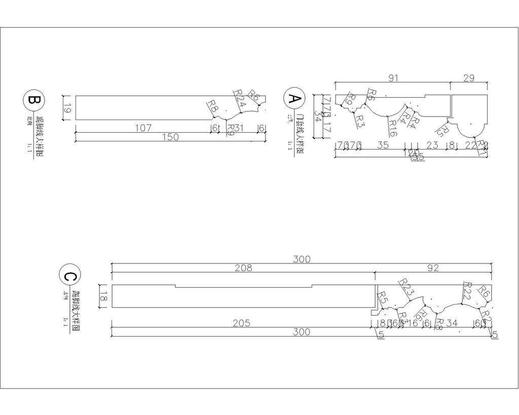欧式线条cad大样图模板下载