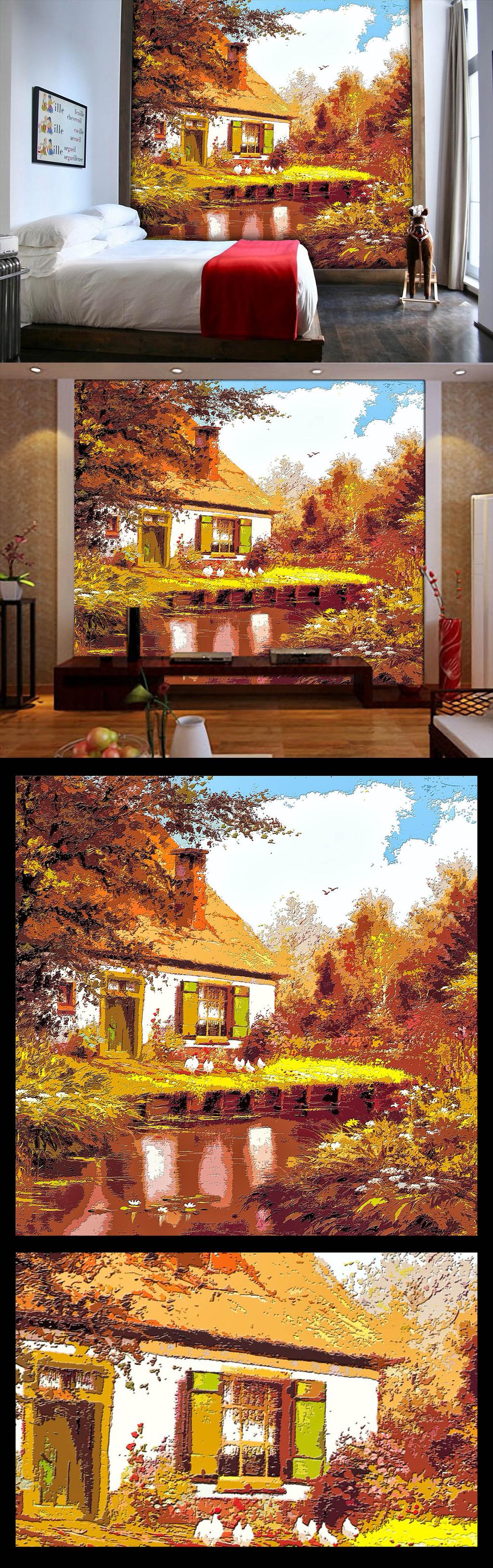 木雕木刻油画风景电视背景墙