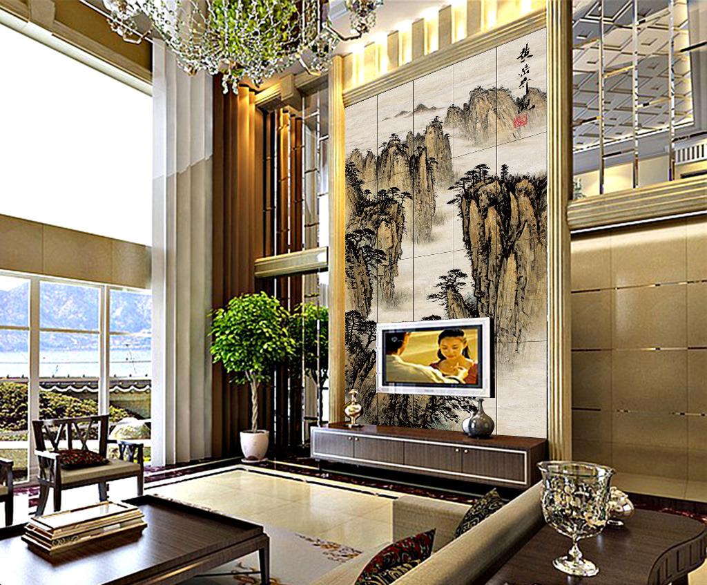 豪宅客厅背景墙电视背景墙中式背景墙