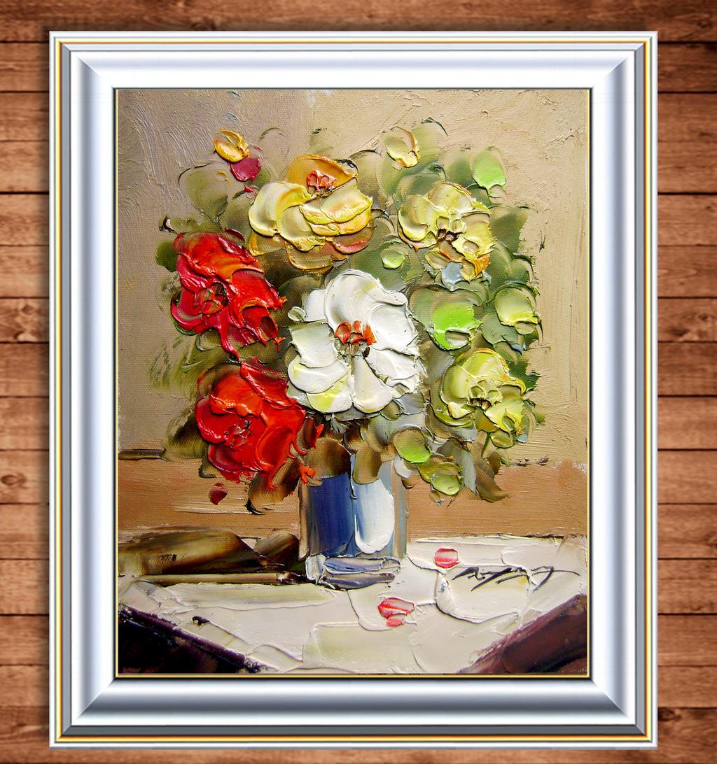 当代艺术牡丹油画图片