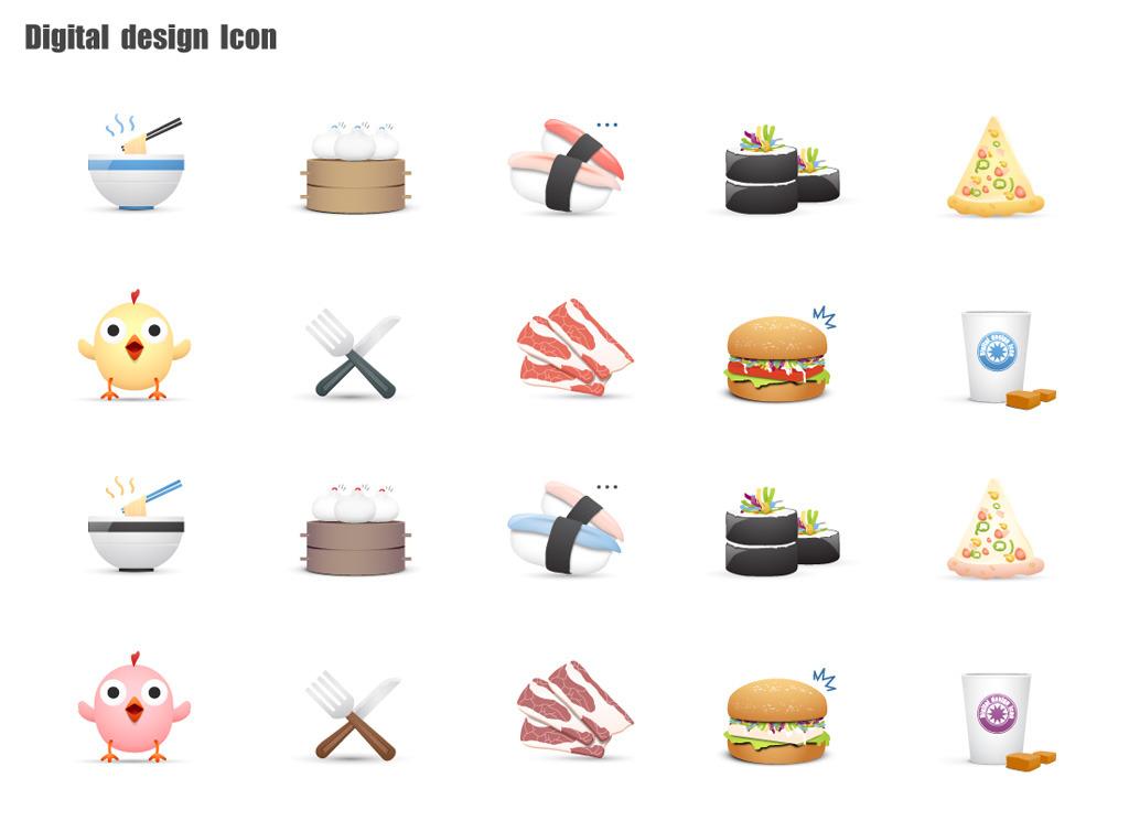 矢量卡通快餐元素图标图片下载矢量图标卡通快餐西式 中式 面条 包子图片