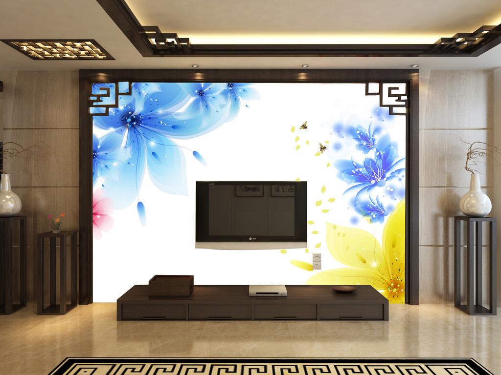 蓝色简约花电视背景墙