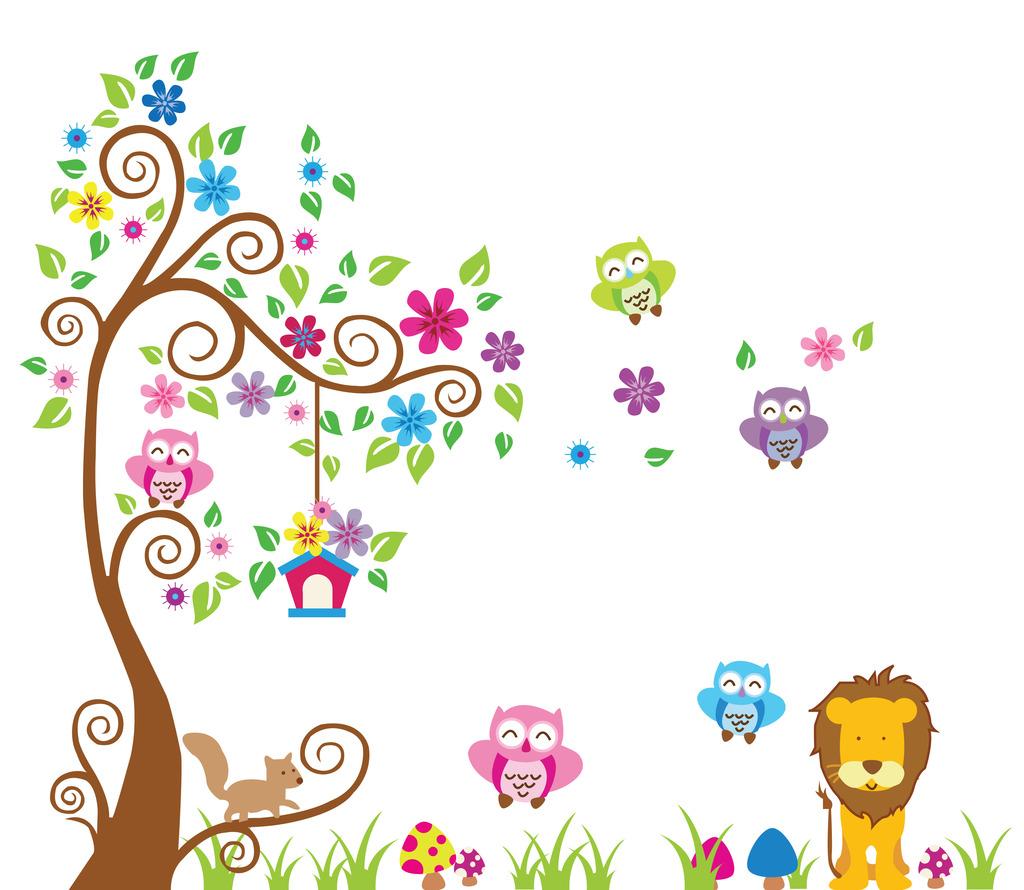 卡通大树背景墙墙贴