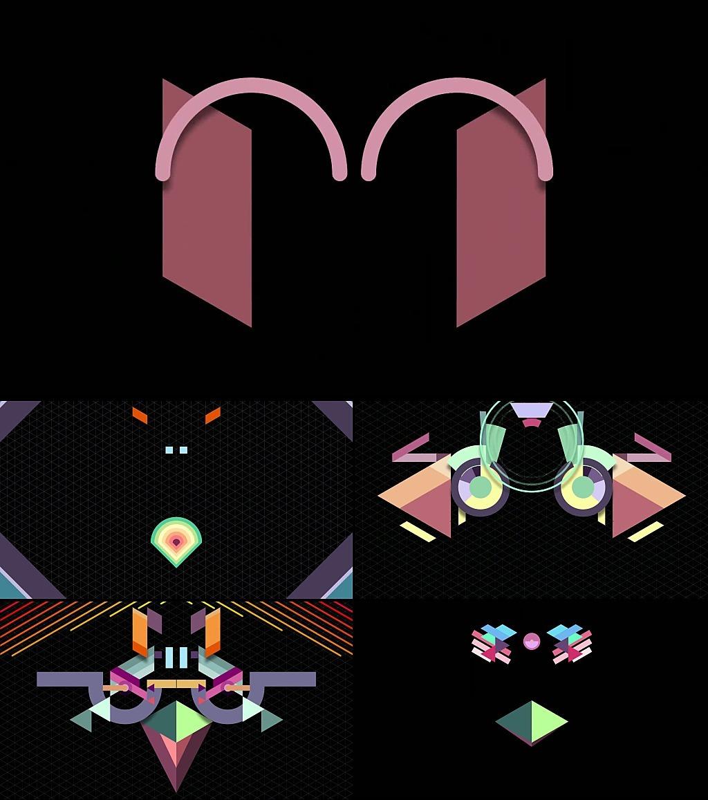 方块线条组合卡通动漫动物唯美视频素材
