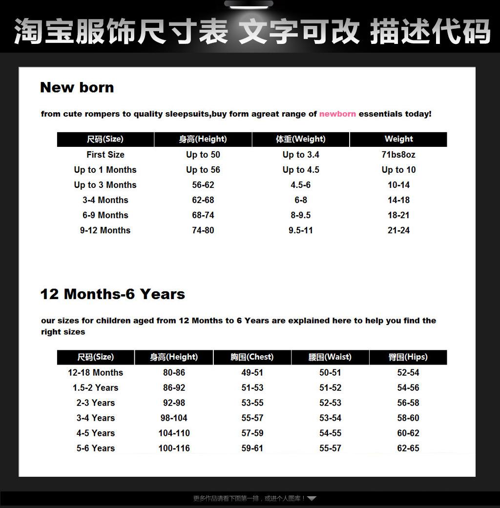 女装服饰类描述页面尺寸代码英文可改文字模板下载
