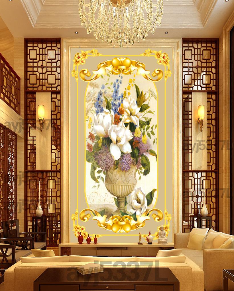 欧式油画花卉 玄关背景
