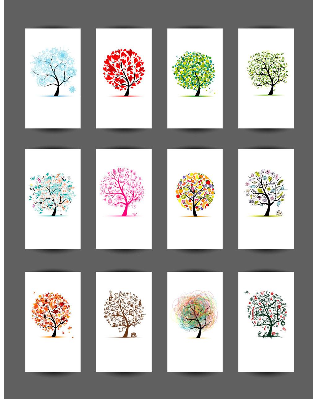 多款彩色创意树无框画