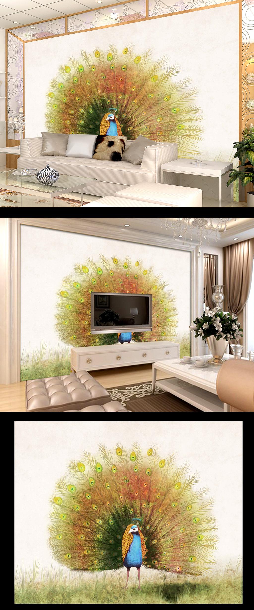 手绘彩绘孔雀电视背景墙