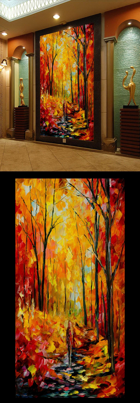 浪漫林荫小道高清手绘油画玄关门厅装饰设计
