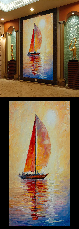 一帆风顺风景画水彩油画壁画玄关门厅装饰