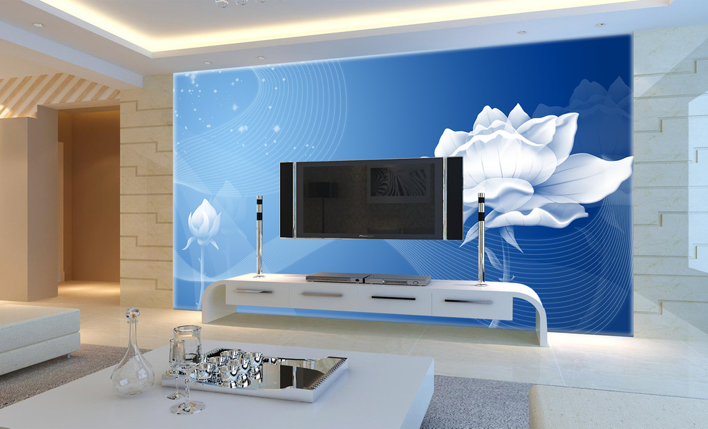 现代荷花电视背景墙