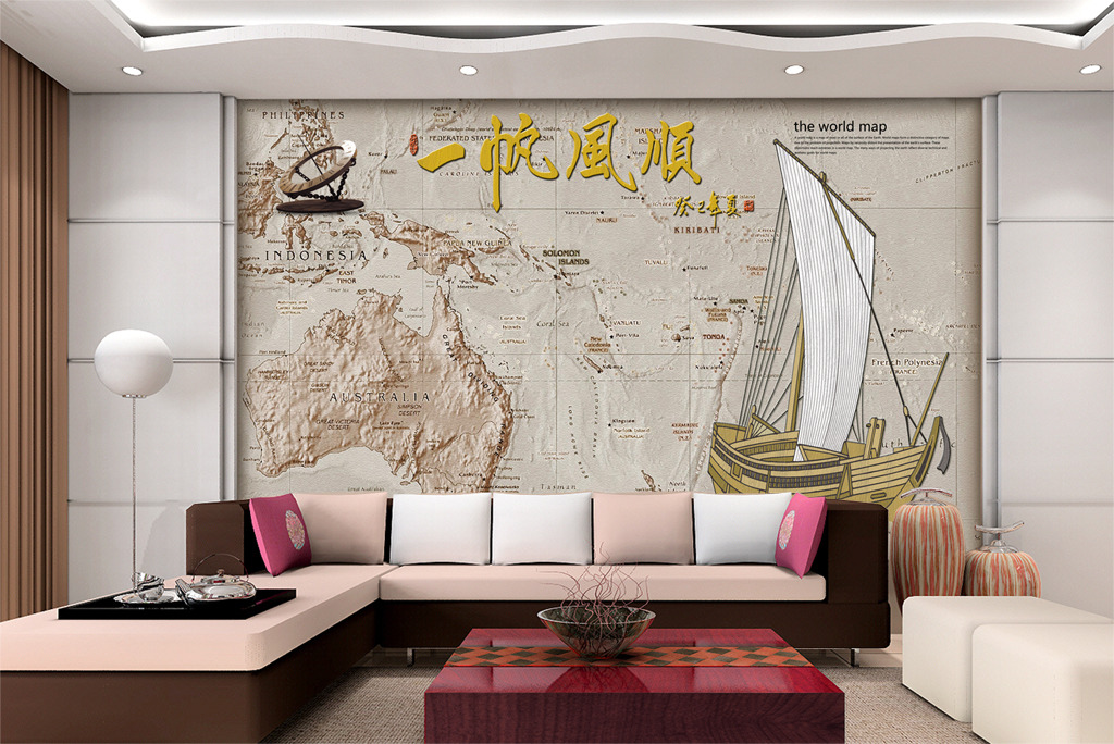 背景墙|装饰画 壁画 浮雕壁画 > 立体世界地图寻找新世界罗盘金币时尚