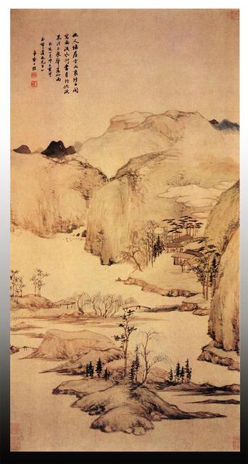 丹青 彩墨 写意 山水画 山河 山川 中式背景 锦绣河山 云居图 江南