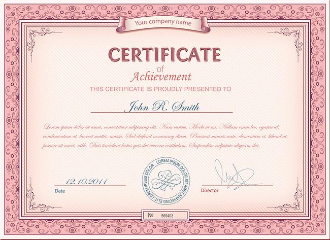 红色英文荣誉证书模板
