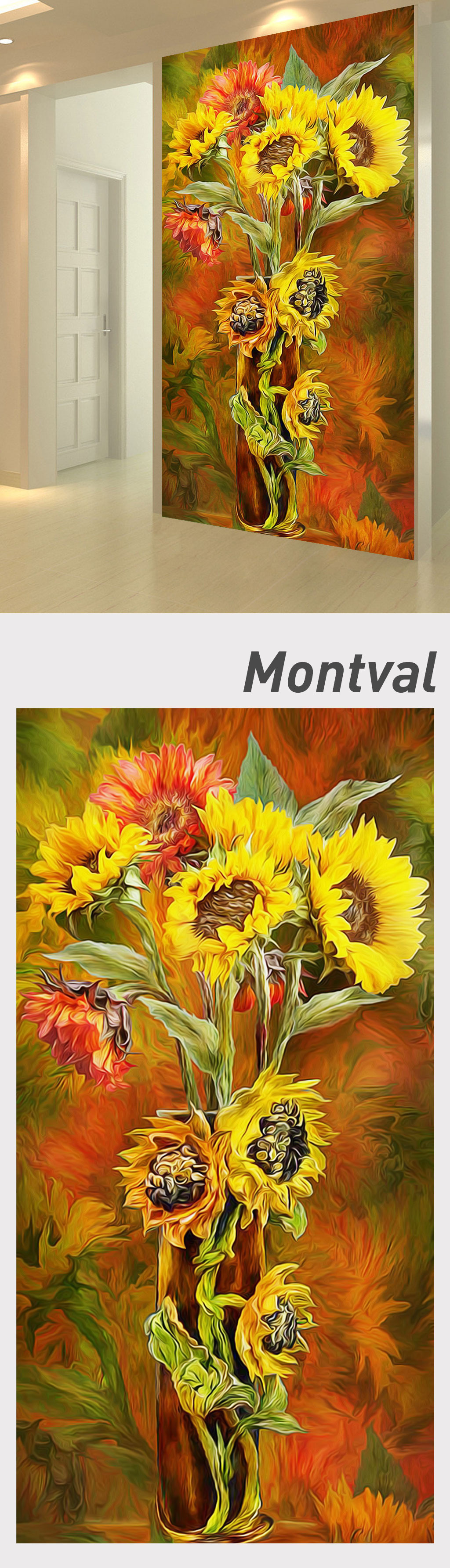 手绘向日葵花卉油画玄关背景墙