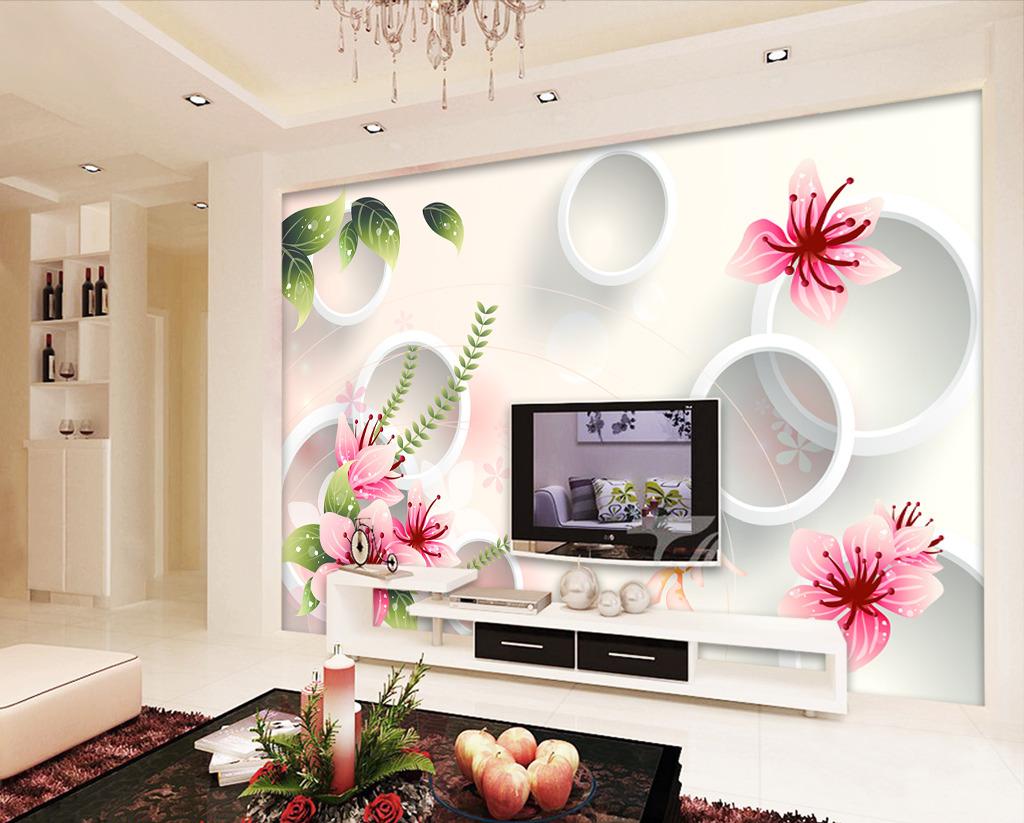 梦幻手绘花朵3d电视背景墙