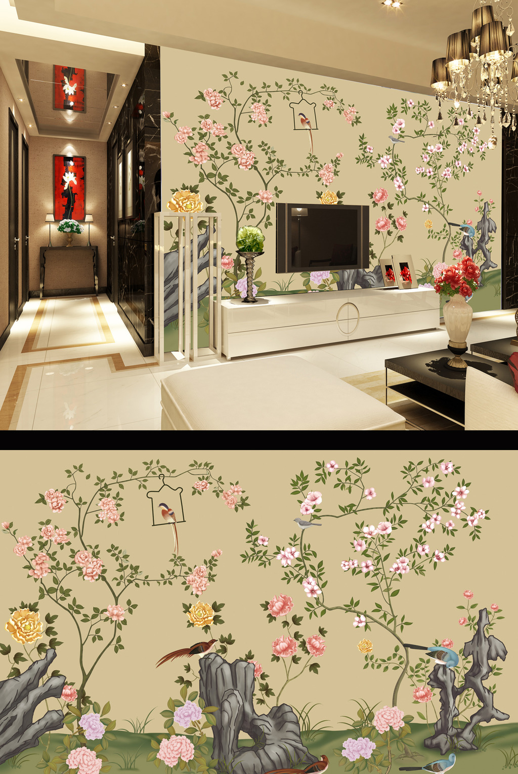 客厅手绘花卉电视背景墙