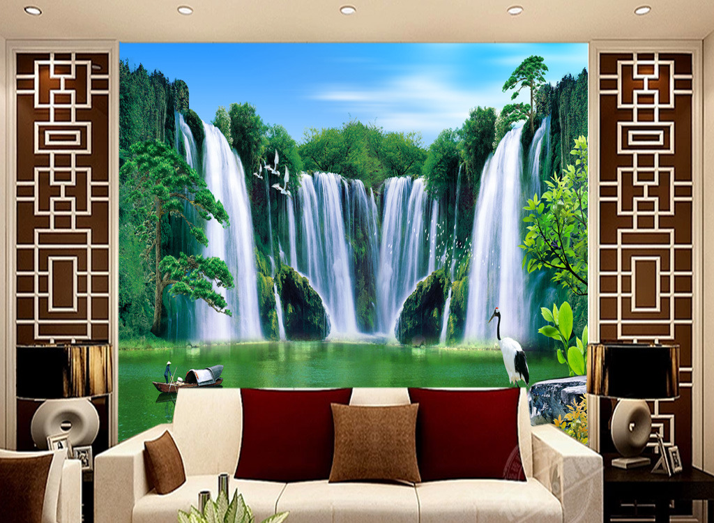 客厅电视背景墙瓷砖背景墙迎客松