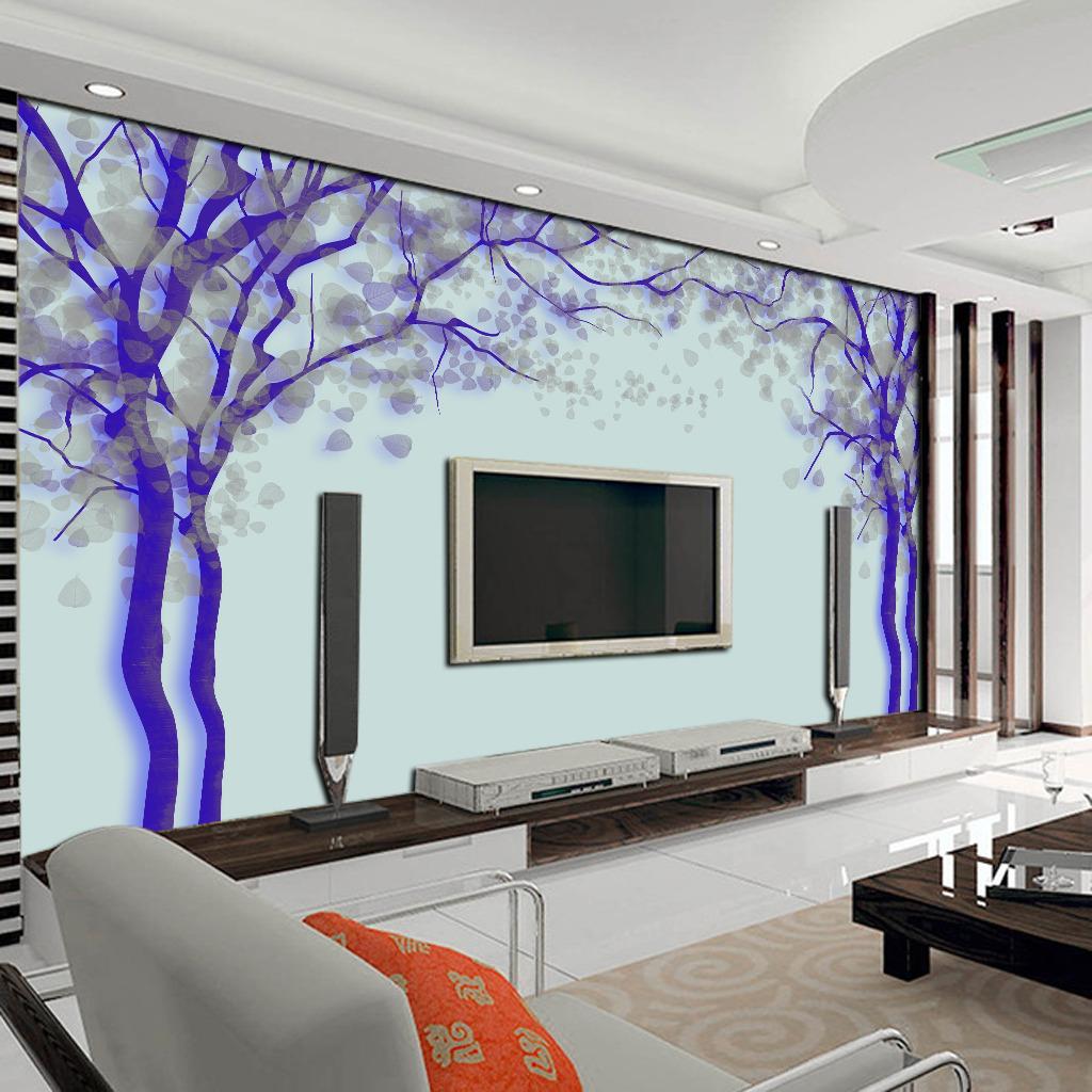 创意抽象树电视背景墙图片