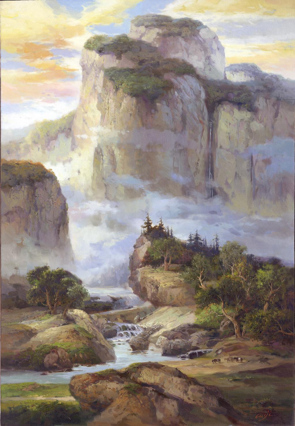 山水风景油画-深山