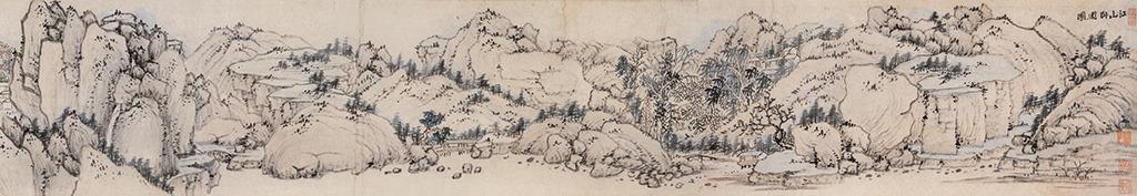 江山卧游图古代山水画壁画装饰画中堂画背景