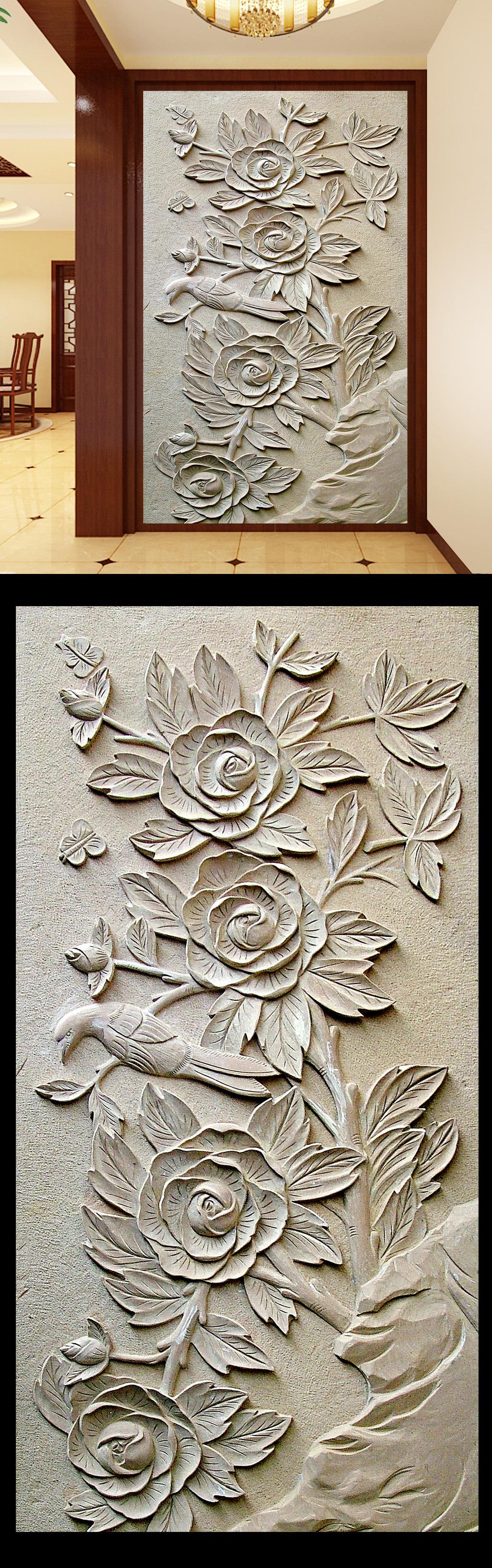3d木雕浮雕玄关宾馆墙画设计模板