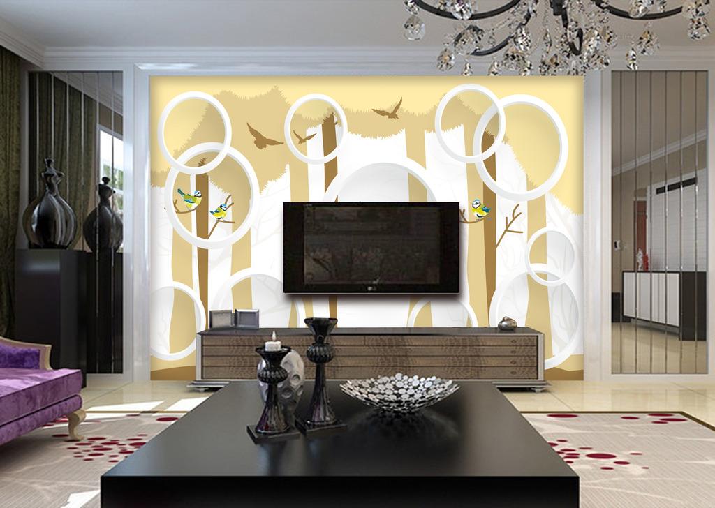 树木小鸟3d电视背景墙装饰画