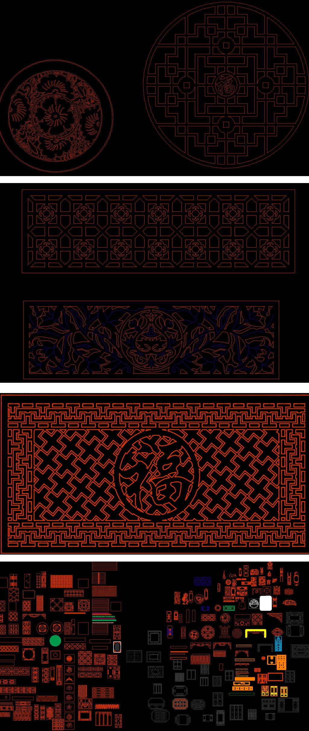 中式镂空雕花cad图库模板下载(图片编号:12373632)