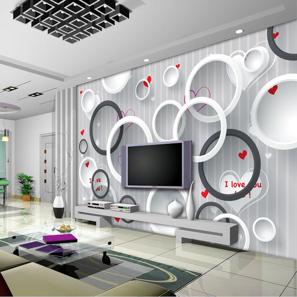 3d立体圆圈电视背景墙