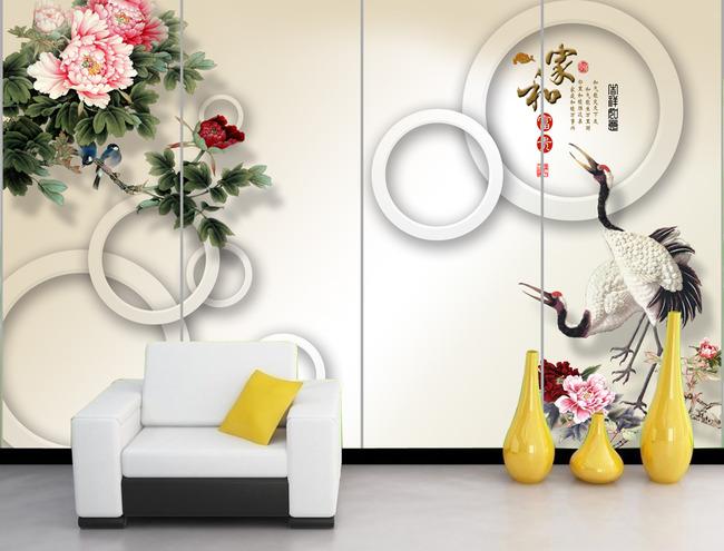 3d立体圆圈国画仙鹤牡丹画电视背景墙