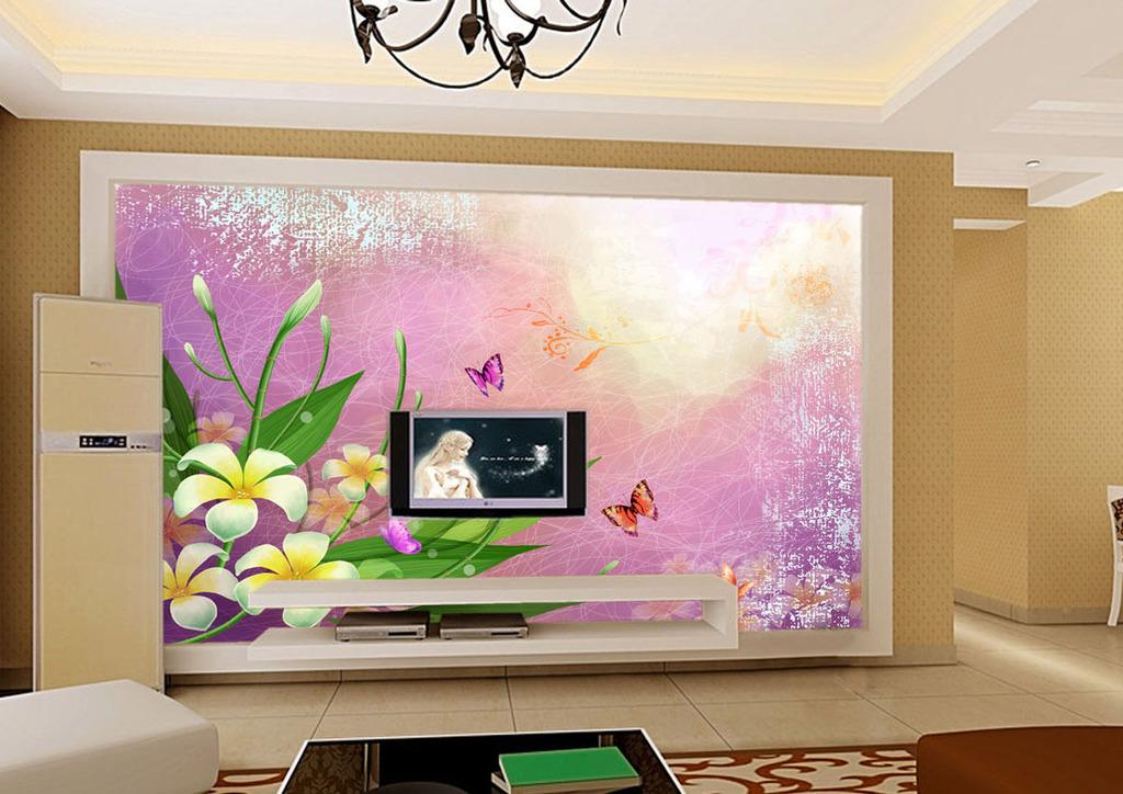玉兰花客厅电视背景墙