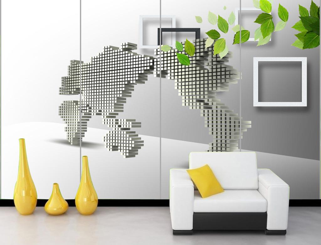 3d立体三维世界地图树叶客厅电视背景墙