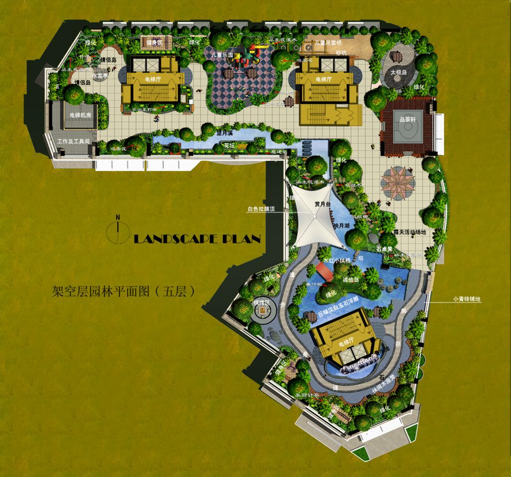 小区景观绿化彩色平面图psd分层方案8