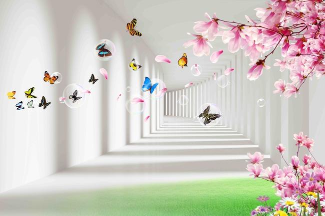 高清蝴蝶纷飞电视背景墙