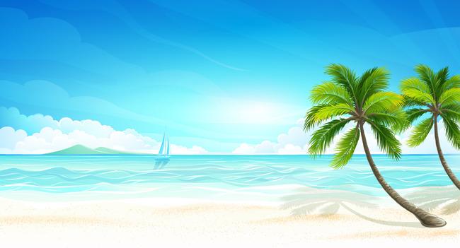 平面设计 其他 插画|元素|卡通 > 海边沙滩椰子树