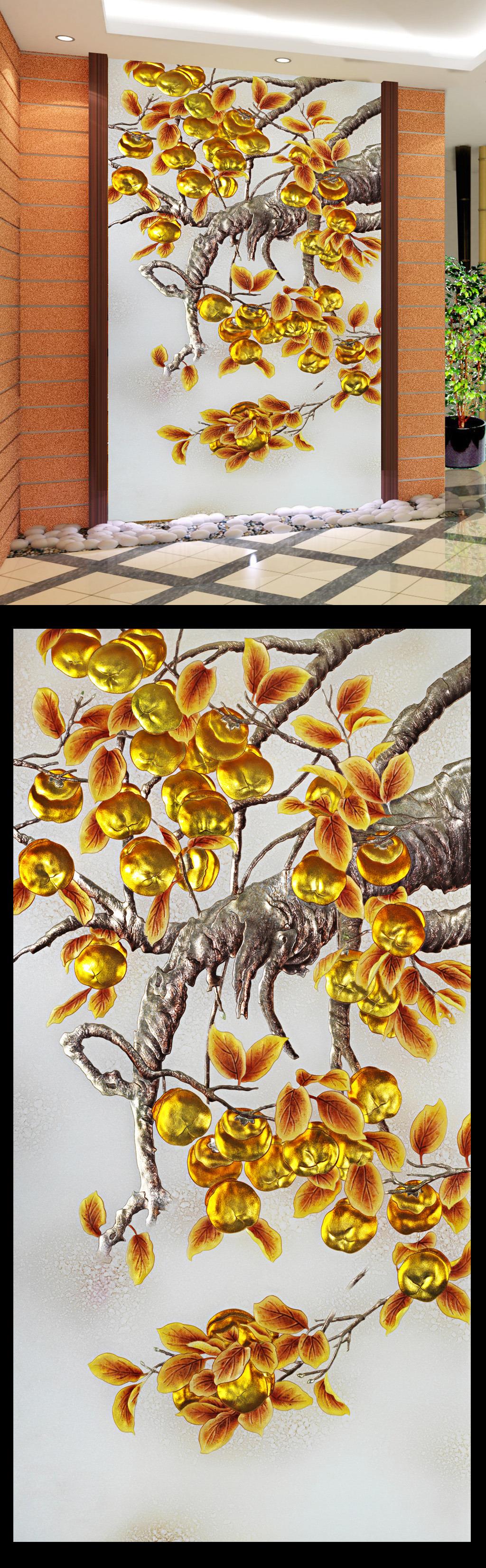 浮雕玄关设计彩雕玻璃客厅壁画效果图