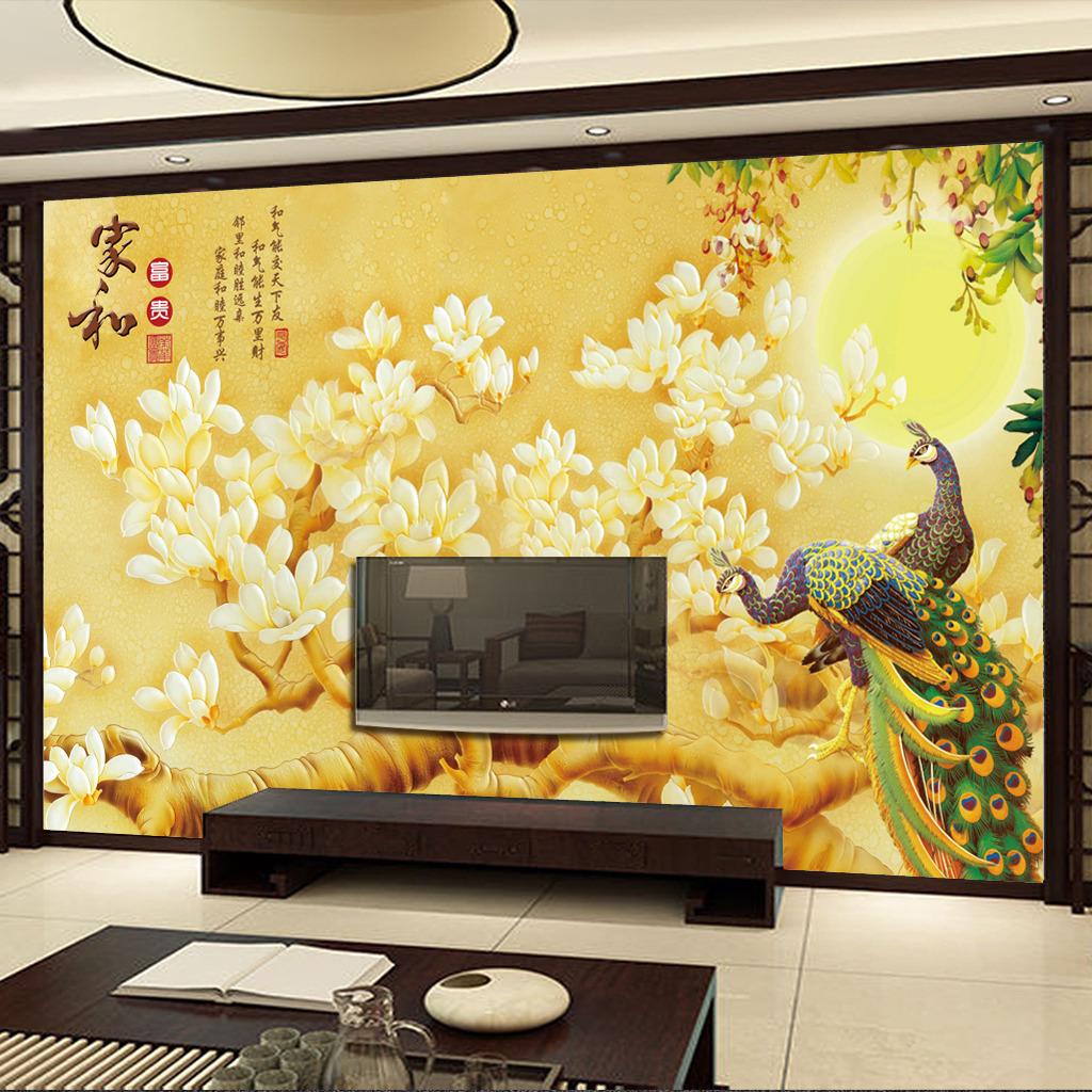 家和彩雕电视背景墙壁画
