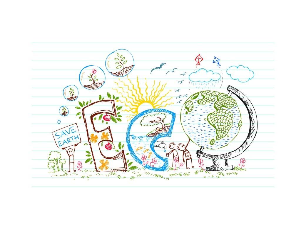 地球日拯救地球保护地球手绘素材