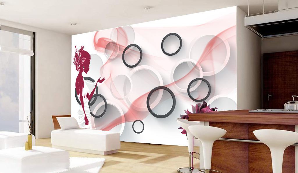 3d立体圆圈卡通剪影美女图客厅电视背景墙