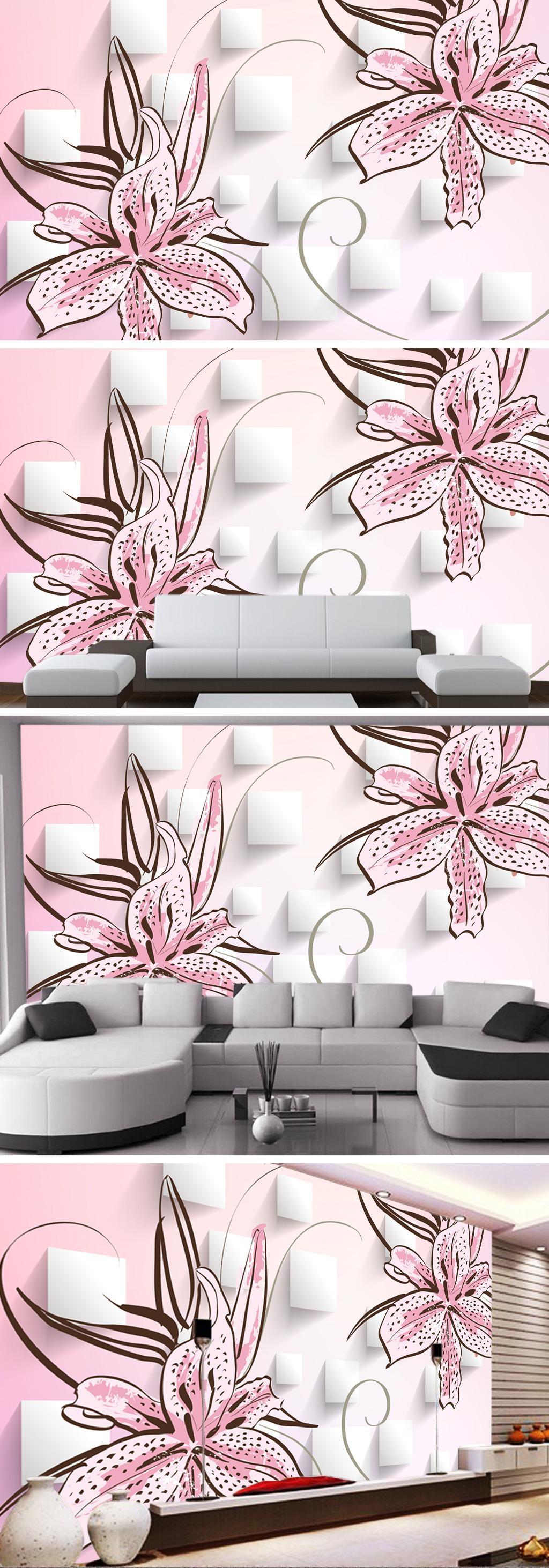 手绘百合花3d电视背景墙装饰画