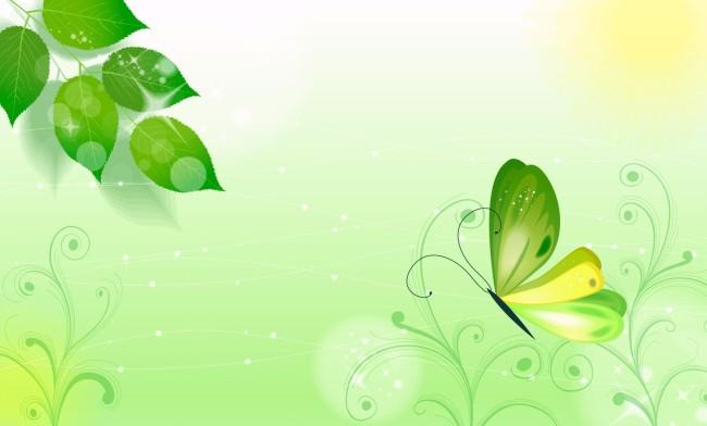 绿叶模板下载 绿叶图片下载 绿叶 底板 卡通 蝴蝶 卡通蝴蝶 卡通花草