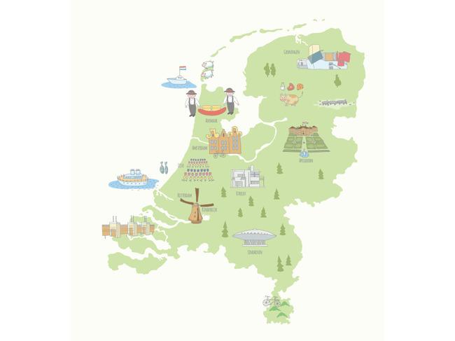 q版荷兰地图插画