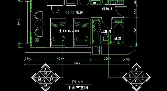 室内设计 cad图库 工装施工cad图纸 > 宾馆卫生间平立顶cad详图