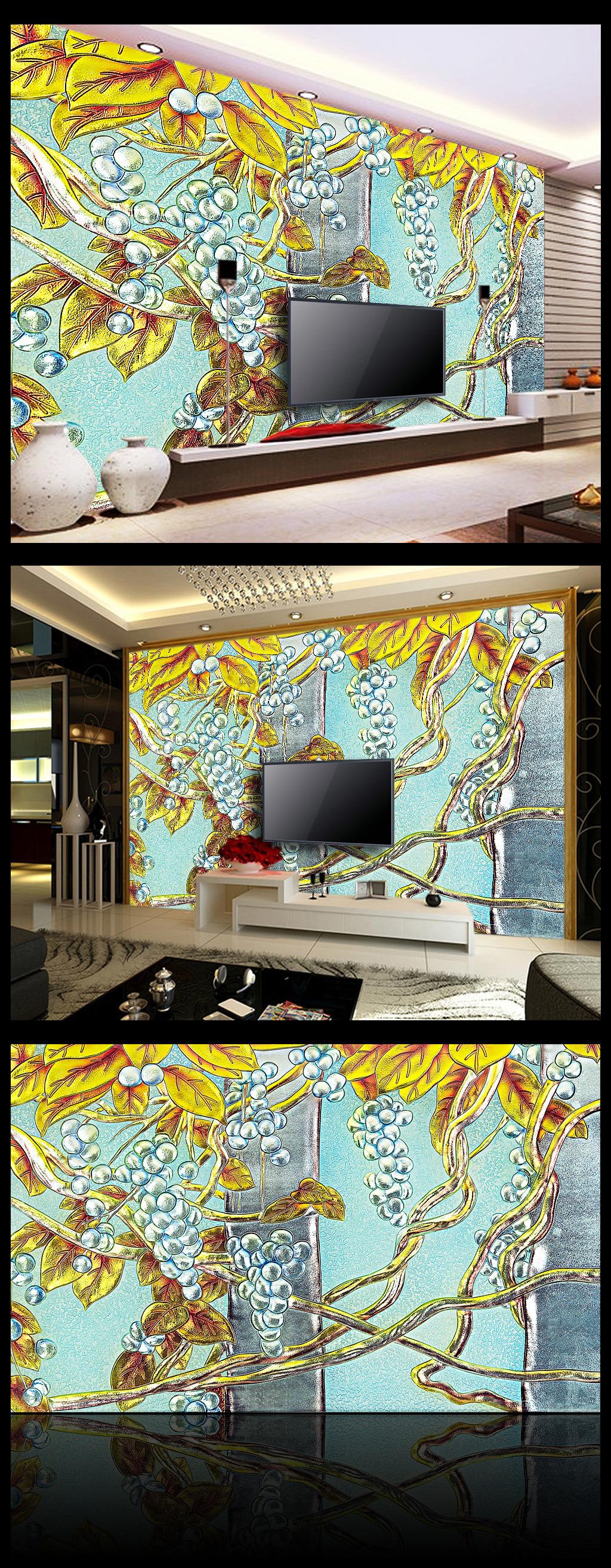 秋天彩雕电视浮雕背景墙效果图模板壁画花纹