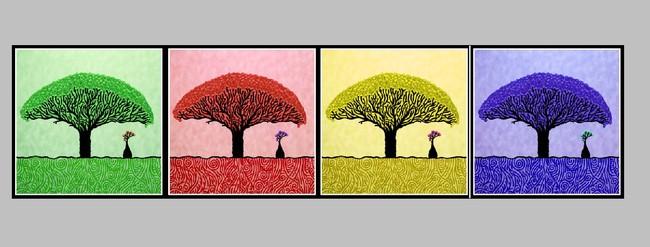 四联花朵剪纸步骤