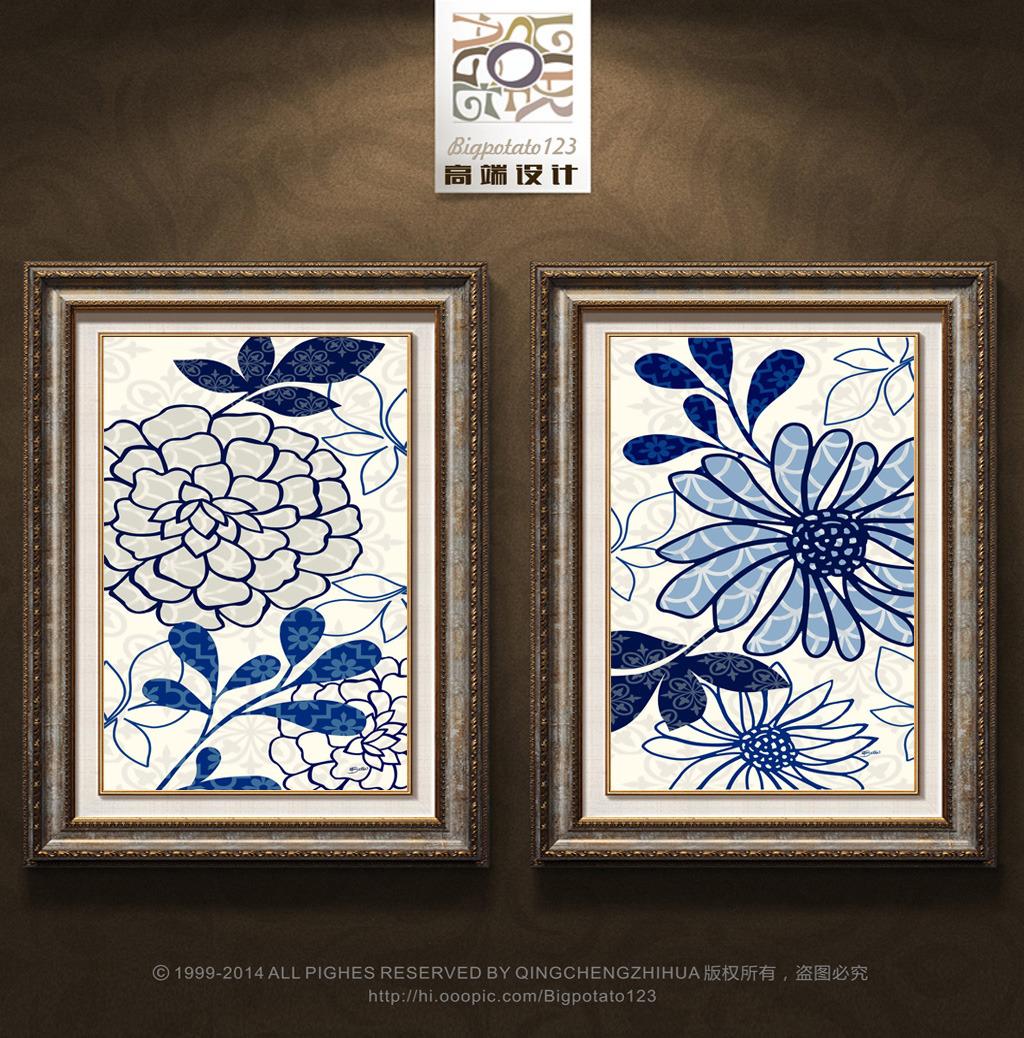 装饰画 花纹 花卉 青花瓷/[版权图片]现代简约青花瓷蓝色花卉花纹装饰画